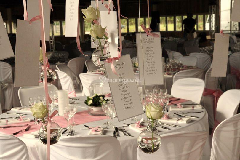 Décoration table de mariage - rose pâle