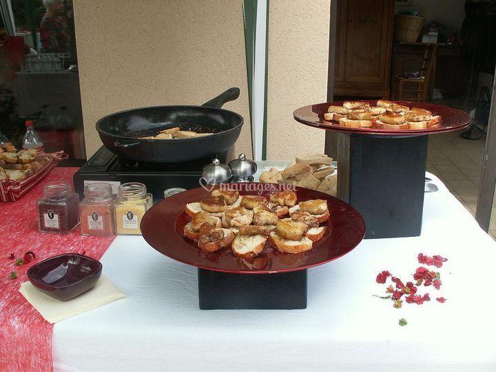 Buffet foie gras chaud