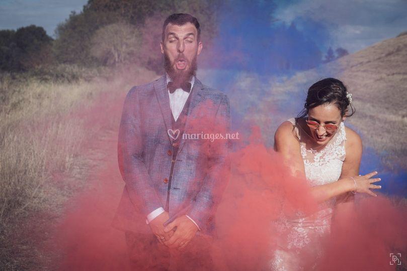 Séance couple fumigènes