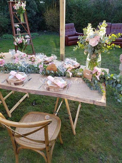 Table décoration champêtre