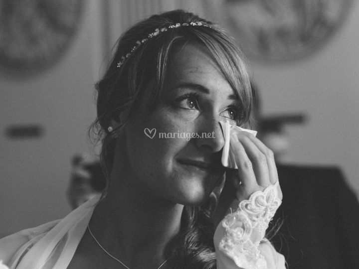 L'émotion de la mariée