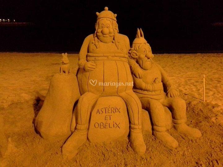 Sculpture sable Astérix