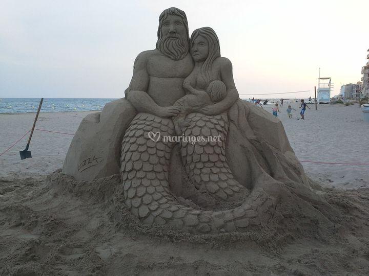 Sculpture sable Couple Sirène