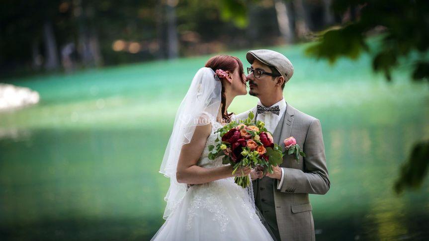 Couple au lac vert