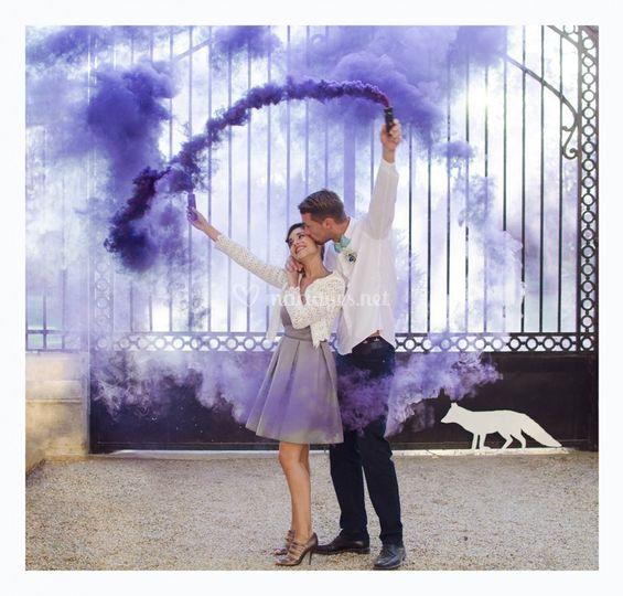 Séance couple avec fumigènes