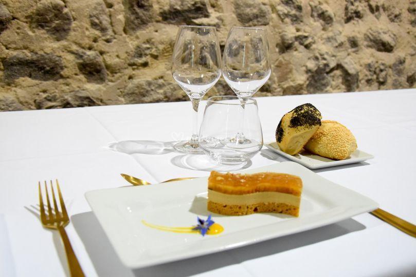 Vague de foie gras aux pommes