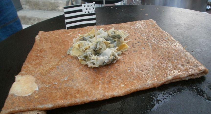 Galette saumon fondue de poireaux