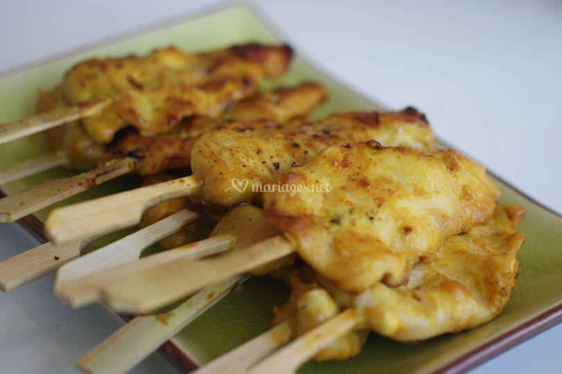 Brochettes poulet satey