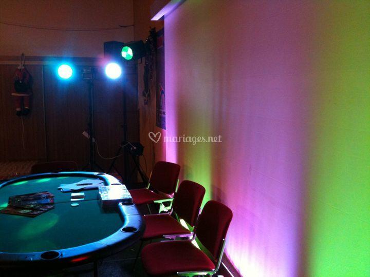 Table de casino éclairée
