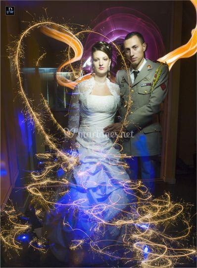 Mariage en light painting