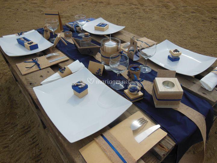 Table de fête Jute marine