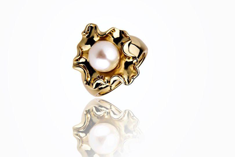 Bague or et perle