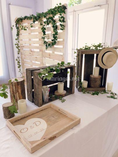 Table cadeaux champêtre chic
