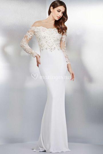 Robe longue blanche dentelle
