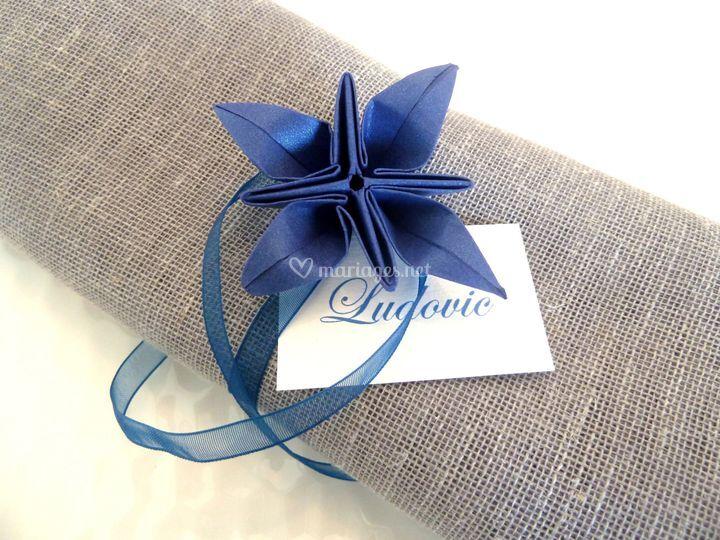 Rond de serviette bleu