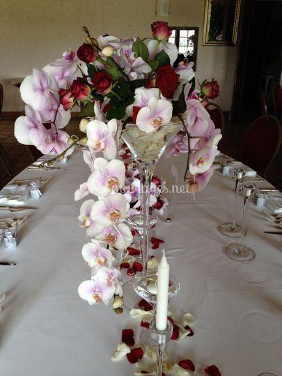 Centre de table orchidées/rose