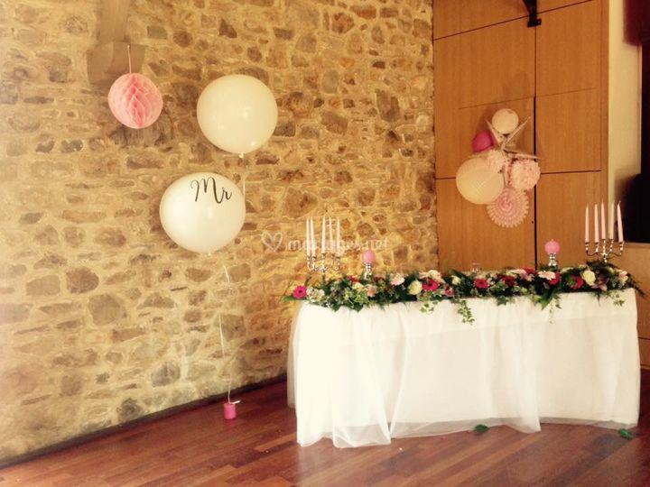 Table d'honneur fiançailles