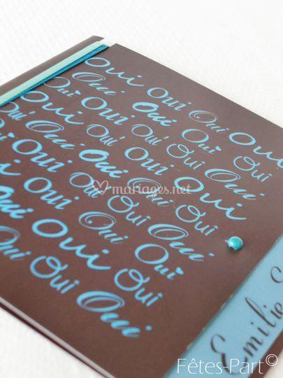 Faire-part turquoise-chocolat