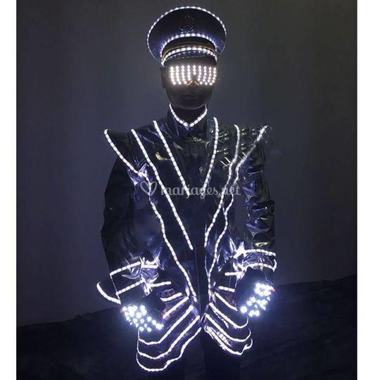 Costume led blanc homme