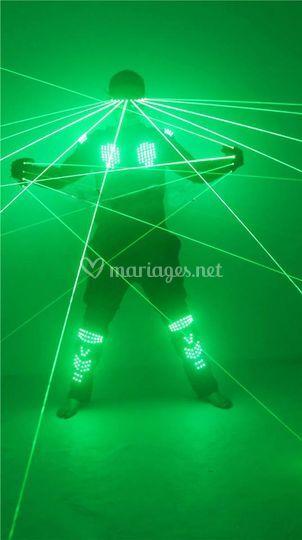 Costume led robotise vert