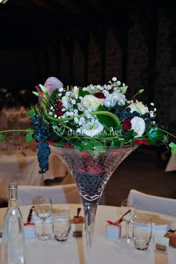 Fleurs verre Martini