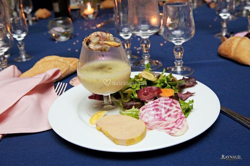 Foie gras brochette de lotte