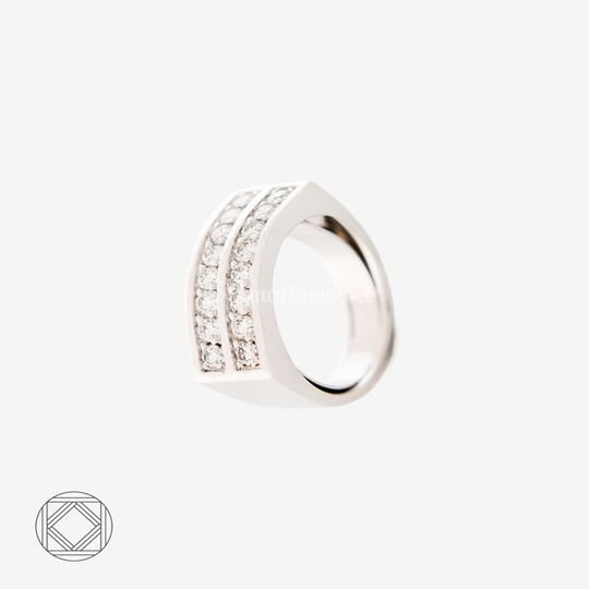1/2Alliance or gris & diamants