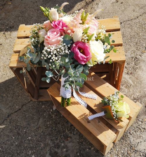 Bouquet de mariée, boutonnière