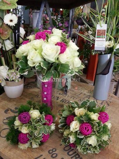Bouquet blanc et rose bohème