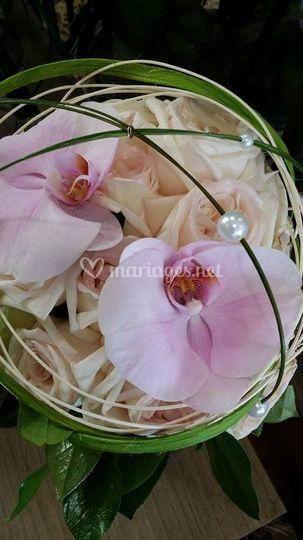 Bouquet pastel et rose poudré