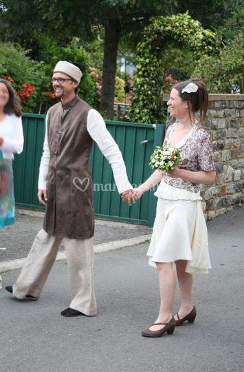 Tenue mariés soie, lin, chanvre