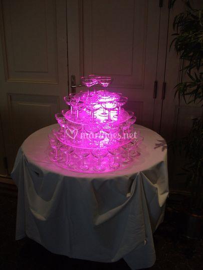 Éclairage fontaine à champagne