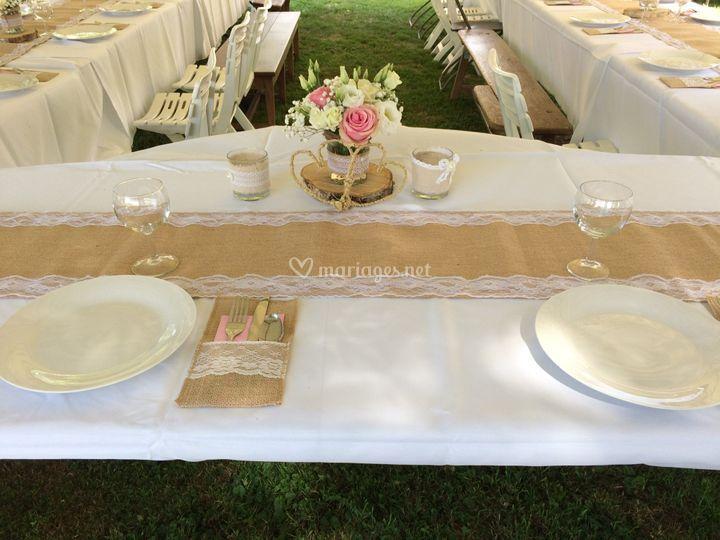 Table champêtre jutte/dentelle