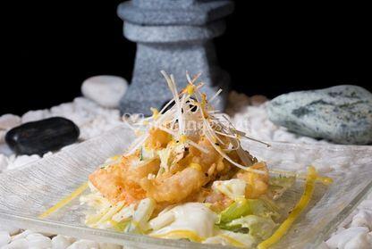 Salade de croustillant de ebi tempura