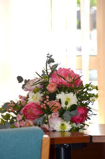 Mariage rose/pèche/blanc