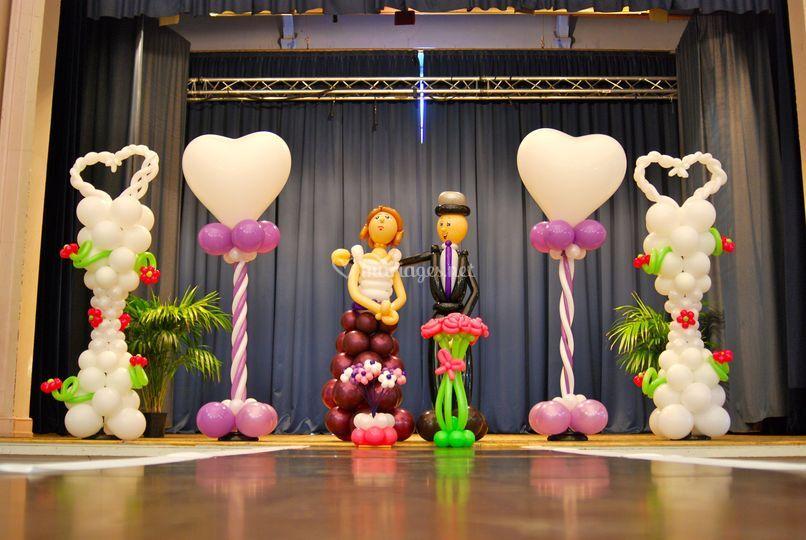 Couple mariés + colonnes