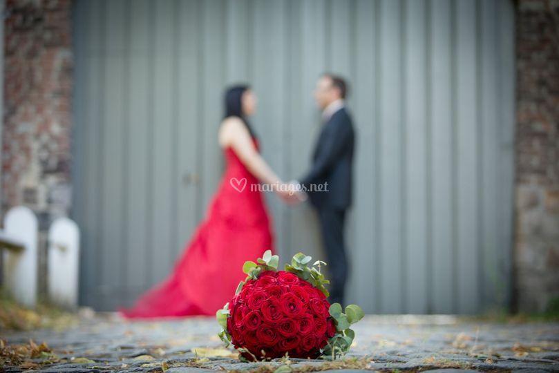 Couple et bouquet