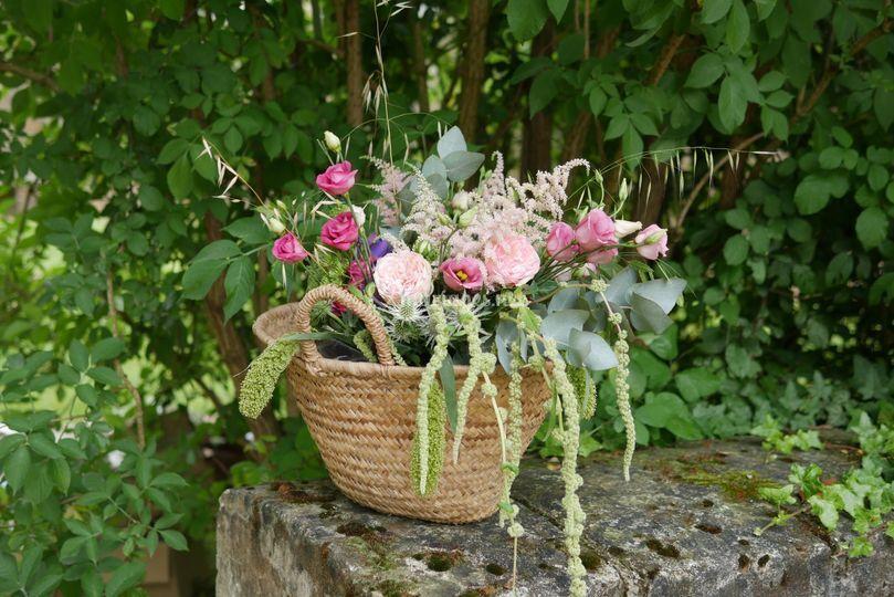 Panier de fleurs champêtres