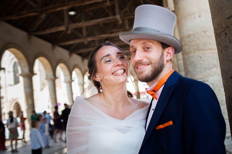 Des mariés sous les halles