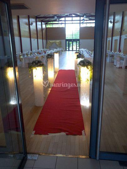 Salle de réception décorée