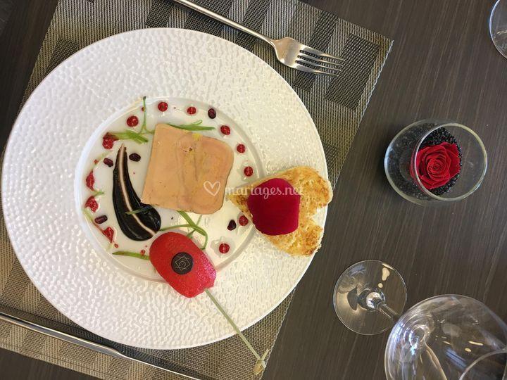 Foie gras et pomme grenadine