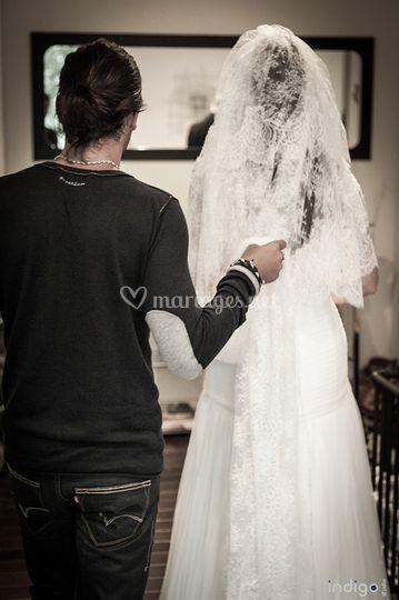 La mariée et son coiffeur