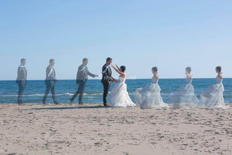 Mariés sur la plage - effets s