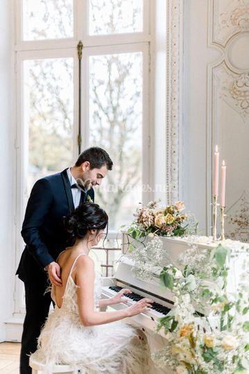 Décoration florale piano