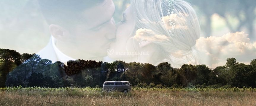 Mariage au milieu des olivier