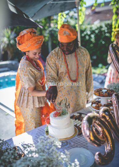 Découpe du wedding cake