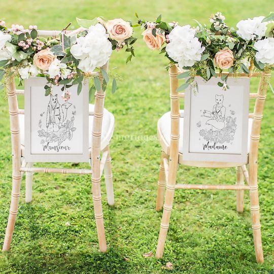 Décoration chaise mariés