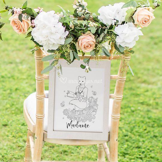 Décoration chaise mariée
