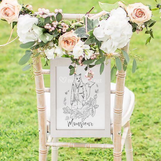 Décoration chaise marié