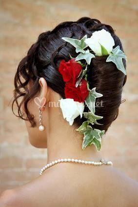 Coiffure mariée rose